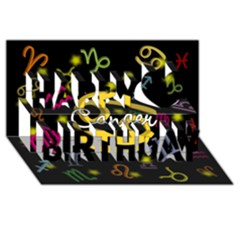 Cancer Floating Zodiac Name Happy Birthday 3D Greeting Card (8x4)