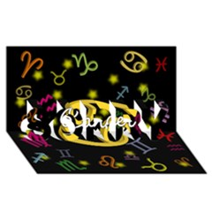 Cancer Floating Zodiac Name SORRY 3D Greeting Card (8x4)