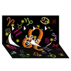 Leo Floating Zodiac Name Twin Hearts 3D Greeting Card (8x4)