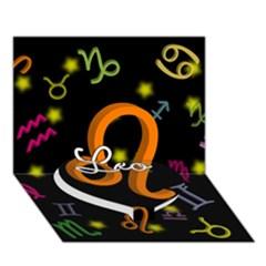 Leo Floating Zodiac Name Heart Bottom 3d Greeting Card (7x5)