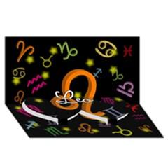 Leo Floating Zodiac Name Twin Heart Bottom 3D Greeting Card (8x4)