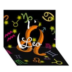 Leo Floating Zodiac Name Apple 3D Greeting Card (7x5)