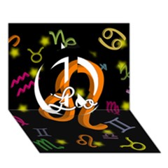 Leo Floating Zodiac Name Peace Sign 3D Greeting Card (7x5)