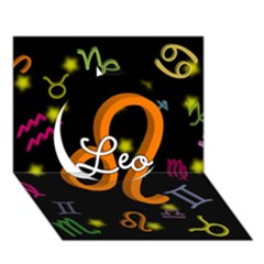 Leo Floating Zodiac Name Circle 3D Greeting Card (7x5)