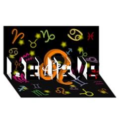 Leo Floating Zodiac Name BELIEVE 3D Greeting Card (8x4)
