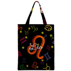 Leo Floating Zodiac Name Zipper Classic Tote Bags