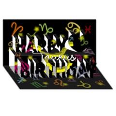 Taurus Floating Zodiac Name Happy Birthday 3D Greeting Card (8x4)