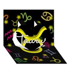 Taurus Floating Zodiac Name Heart 3D Greeting Card (7x5)