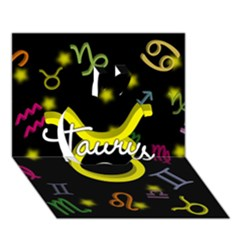 Taurus Floating Zodiac Name Apple 3D Greeting Card (7x5)