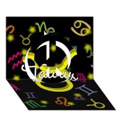 Taurus Floating Zodiac Name Peace Sign 3D Greeting Card (7x5)
