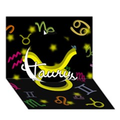 Taurus Floating Zodiac Name Circle 3D Greeting Card (7x5)