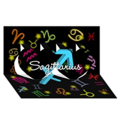 Sagittarius Floating Zodiac Name Twin Hearts 3D Greeting Card (8x4)