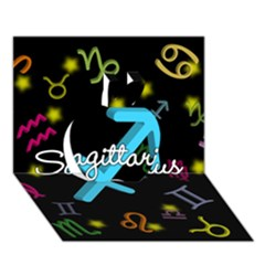 Sagittarius Floating Zodiac Name Apple 3d Greeting Card (7x5)