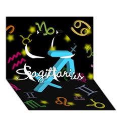 Sagittarius Floating Zodiac Name Clover 3D Greeting Card (7x5)