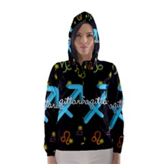 Sagittarius Floating Zodiac Name Hooded Wind Breaker (Women)