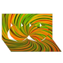 Happy Green Orange Twin Hearts 3D Greeting Card (8x4)