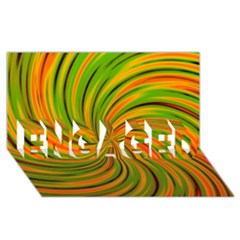 Happy Green Orange ENGAGED 3D Greeting Card (8x4)