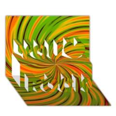 Happy Green Orange You Rock 3d Greeting Card (7x5)