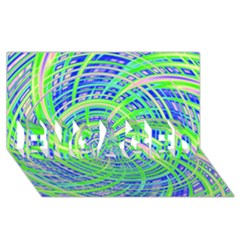Happy Green ENGAGED 3D Greeting Card (8x4)