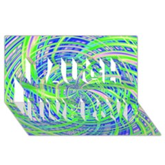 Happy Green Laugh Live Love 3d Greeting Card (8x4)