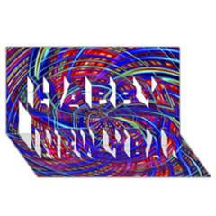 Happy Red Blue Happy New Year 3D Greeting Card (8x4)