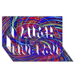 Happy Red Blue Laugh Live Love 3d Greeting Card (8x4)