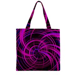 Happy, Black Pink Zipper Grocery Tote Bags