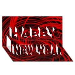 Happy, Black Red Happy New Year 3d Greeting Card (8x4)