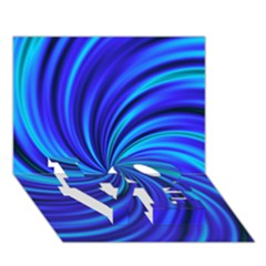 Happy, Blue LOVE Bottom 3D Greeting Card (7x5)