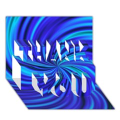 Happy, Blue THANK YOU 3D Greeting Card (7x5)