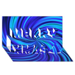 Happy, Blue Merry Xmas 3d Greeting Card (8x4)