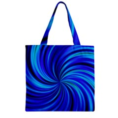 Happy, Blue Zipper Grocery Tote Bags