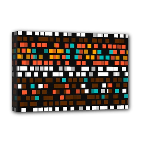 Squares pattern in retro colors Deluxe Canvas 18  x 12  (Stretched)