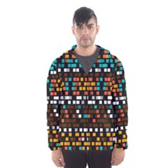 Squares Pattern In Retro Colors Mesh Lined Wind Breaker (men)