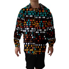 Squares pattern in retro colors Hooded Wind Breaker (Kids)