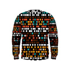 Squares Pattern In Retro Colors  Kid s Sweatshirt