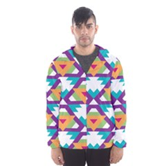 Triangles and other shapes pattern Mesh Lined Wind Breaker (Men)