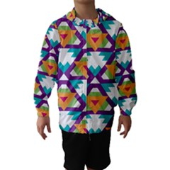 Triangles And Other Shapes Pattern Hooded Wind Breaker (kids)