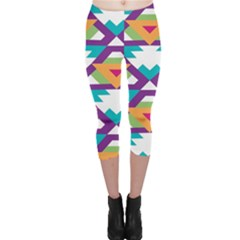 Triangles And Other Shapes Pattern Capri Leggings