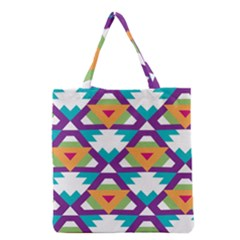 Triangles and other shapes pattern Grocery Tote Bag