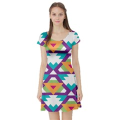 Triangles and other shapes pattern Short Sleeve Skater Dress