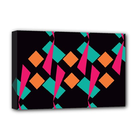 Shapes in retro colors  Deluxe Canvas 18  x 12  (Stretched)