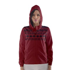 Aztec Red Hooded Wind Breaker (Women)