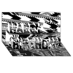 Bw Glitch 1 Happy Birthday 3d Greeting Card (8x4)