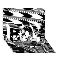 Bw Glitch 1 BOY 3D Greeting Card (7x5)