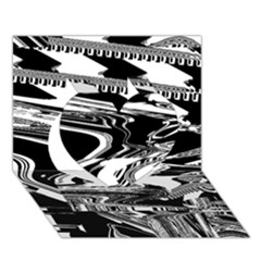 Bw Glitch 1 Heart 3D Greeting Card (7x5)