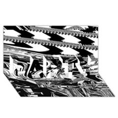 Bw Glitch 1 Party 3d Greeting Card (8x4)