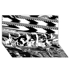 Bw Glitch 1 SORRY 3D Greeting Card (8x4)