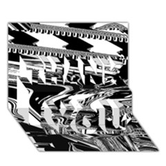 Bw Glitch 1 THANK YOU 3D Greeting Card (7x5)