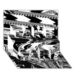 Bw Glitch 1 TAKE CARE 3D Greeting Card (7x5)